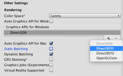 Unity - Manual: DirectX 11 and OpenGL Core