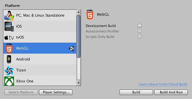 Unity - Manual: Building and running a WebGL project