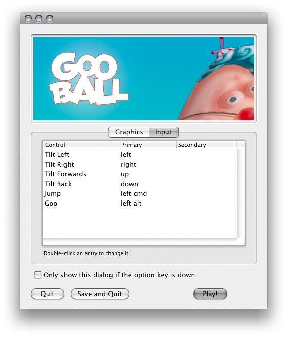 注意: これは古い画像です。この Input Selector は、2005 年のとても古いバージョンの Unity エディターのものです。GooBall は Unity Technologies のゲームです。
