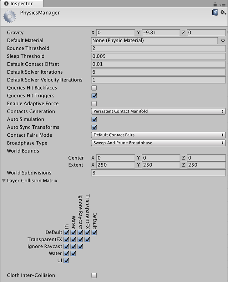 Unity - Manual: Physics Manager
