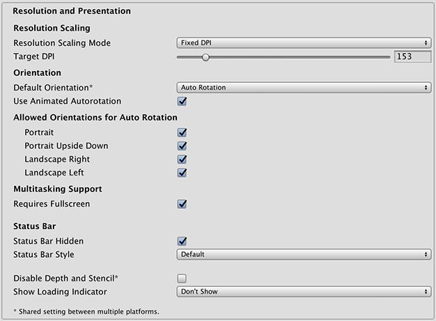 Unity - Manual: iOS Player Settings