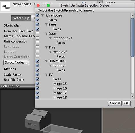 Unity - Manual: SketchUp Settings