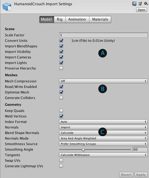 Unity - Manual: Model tab