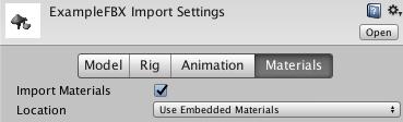 Materials タブでマテリアルとテクスチャのインポート方法を定義できます