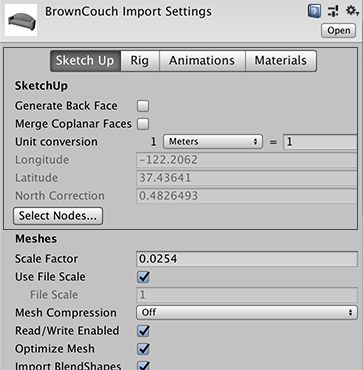インスペクターウィンドウに表示されるモデルインポートのための SketchUp 特有のプロパティー