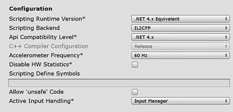 Unity - Manual: Player settings for the Universal Windows