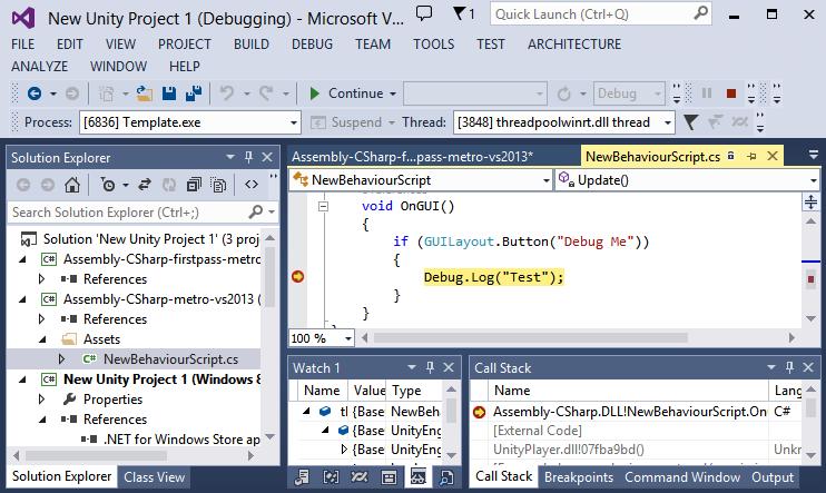 Unity - Manual: Universal Windows Platform: Debugging on