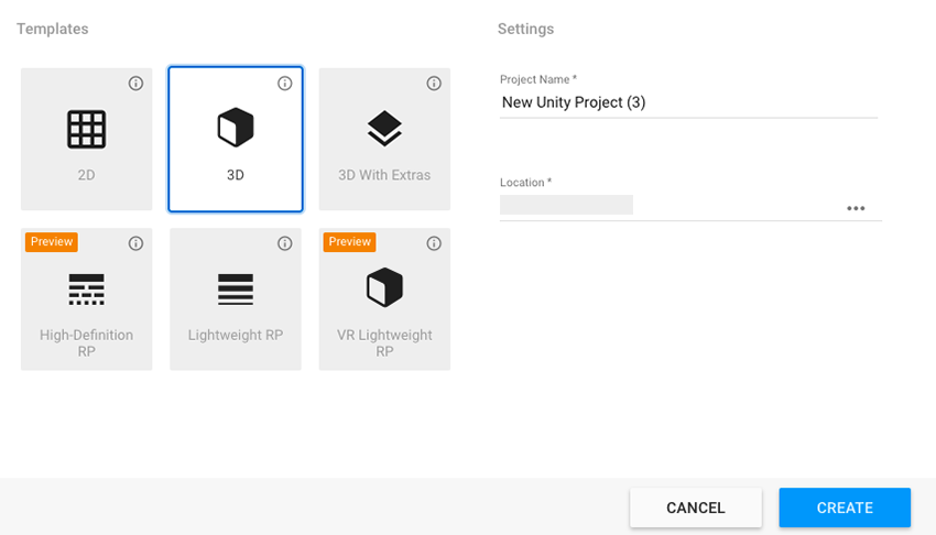 Unity - Manual: Project Templates