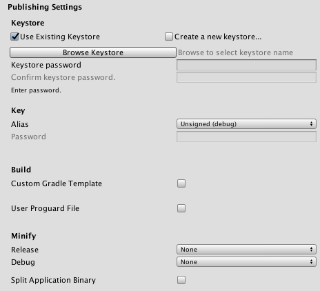 Unity - Manual: Android Player settings
