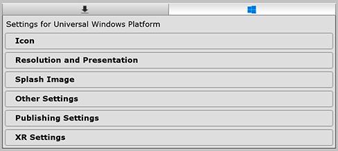 Unity - Manual: Universal Windows Player settings
