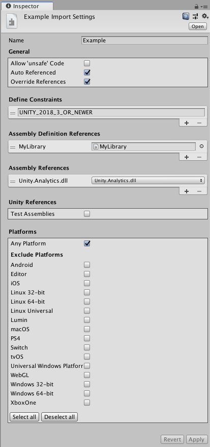 Definition Manual Assembly Properties - Unity lady