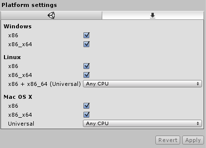 Unity - Manual: Standalone Plugin Settings