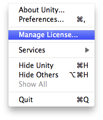 Unity - Manual: Managing your Unity license