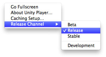 Unity - Manual: Webplayer Release Channels