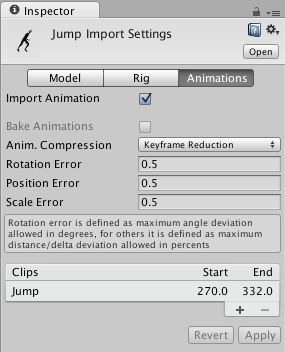 Unity - Manual: FBX Importer - Animations Tab