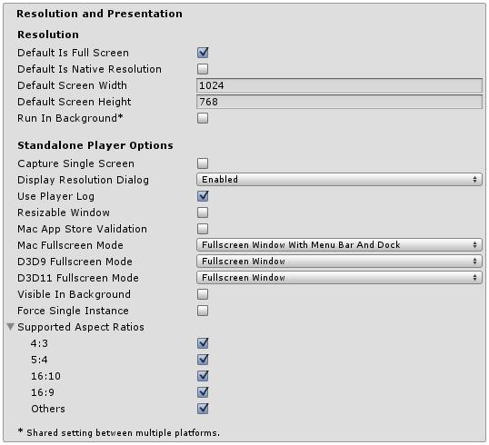 Unity - Manual: Standalone Player Settings