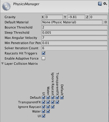 Unity - Manual: Physics Manager