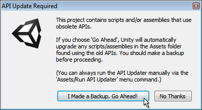 Unity - Manual: Using the Automatic API Updater