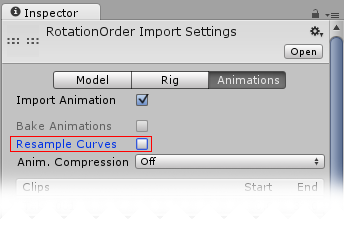 Unity - Manual: Euler Curve Import