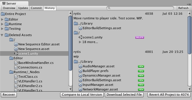 Unity - Manual: Asset Server (Team License)