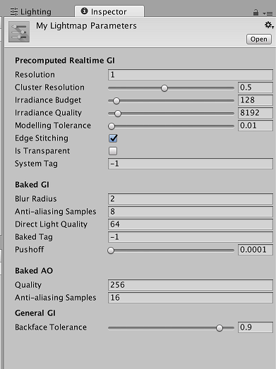 Unity - Manual: Lightmap Parameters