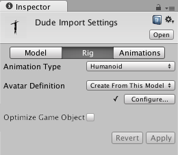 Unity - Manual: FBX Importer, Rig options