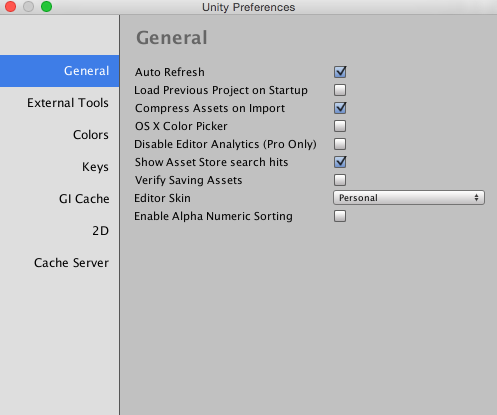 Unity - Manual: Preferences