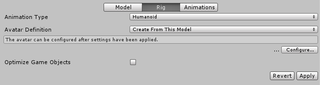 Unity - Manual: Using Blender and Rigify