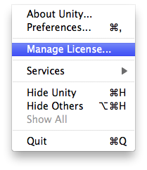 Unity - Manual: Managing your License