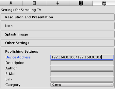Unity - Manual: Getting started with Samsung TV development
