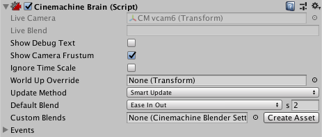 Setting Cinemachine Brain properties | Package Manager UI website