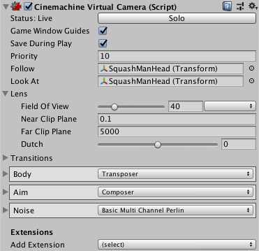 Setting Virtual Camera properties | Package Manager UI website