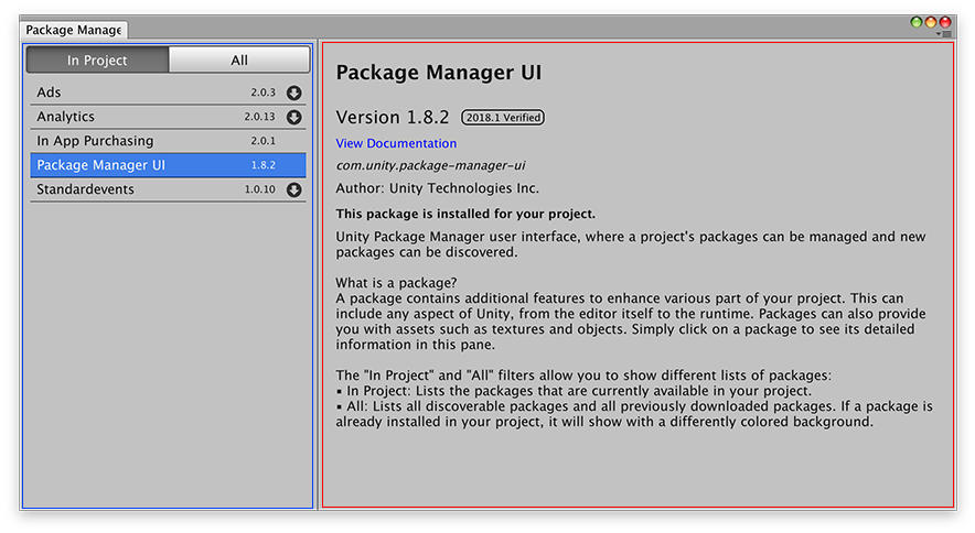 Unity Package Manager | Package Manager UI website