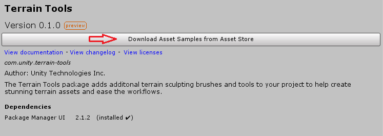 Getting started with Terrain Tools | Package Manager UI website