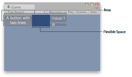 Unity - Scripting API: GUILayout FlexibleSpace