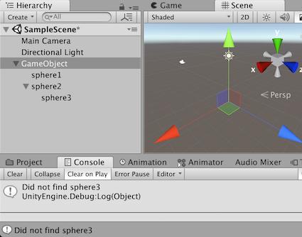 Unity - Scripting API: Transform Find