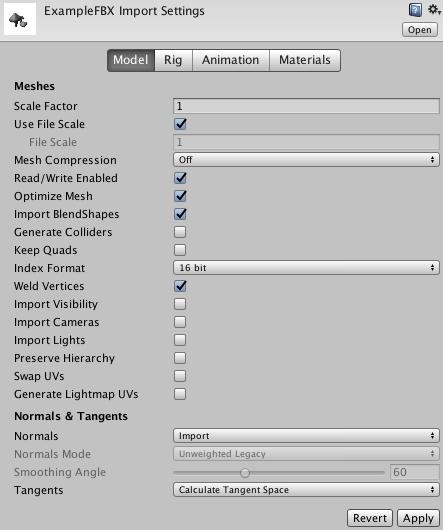 Model Importer: Model - Unity Manual