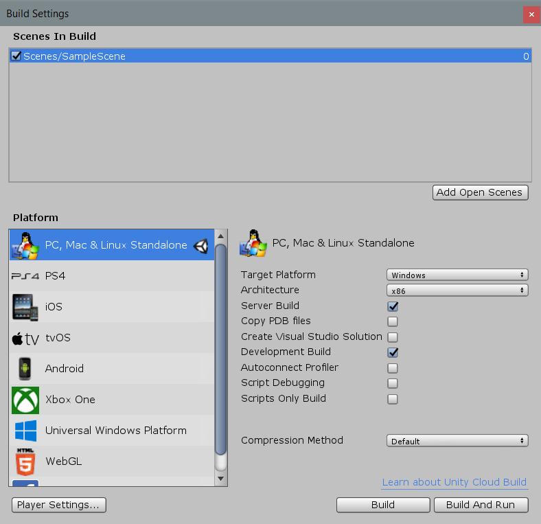 Build Settings - Unity Manual