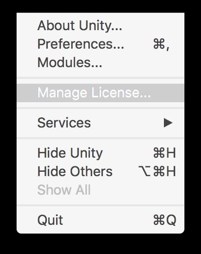 Manejando su Licencia de Unity - Unity Manual