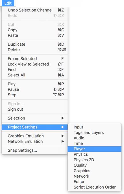 Navegando a los Player Settings desde el Editor de Unity