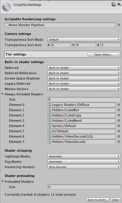 graphics settings unity マニュアル