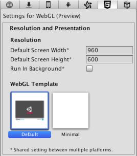 webgl テンプレートの使用 unity マニュアル