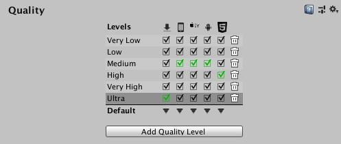 Quality - Unity マニュアル