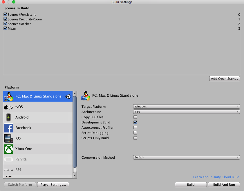 Build settings unity for Online window design tool