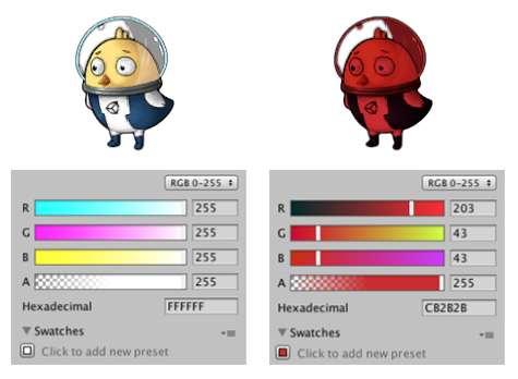 Left: The original Sprite. Right: The Sprite with its RGB colors set to red.