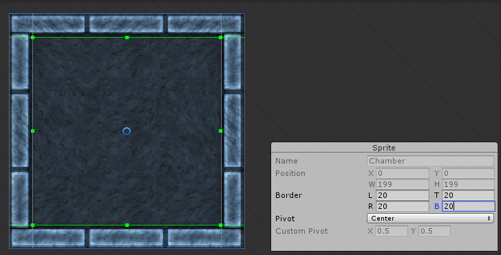 Defining the borders of the Sprite in the Sprite Editor window