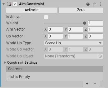 Unity - Manual: Aim Constraints
