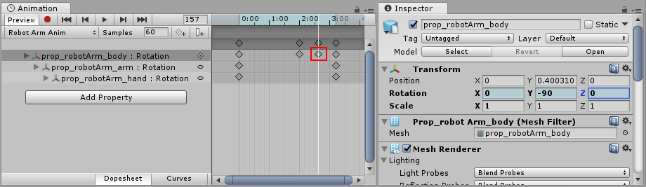 With the new keyframe added (marked in red), the values in the inspector return to a blue tint.