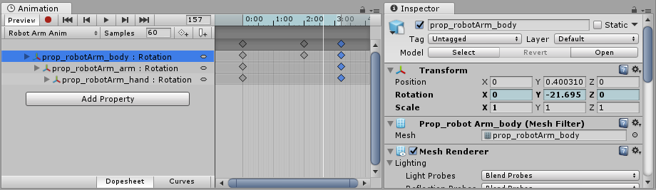 In preview mode, animated fields are tinted blue in the inspector