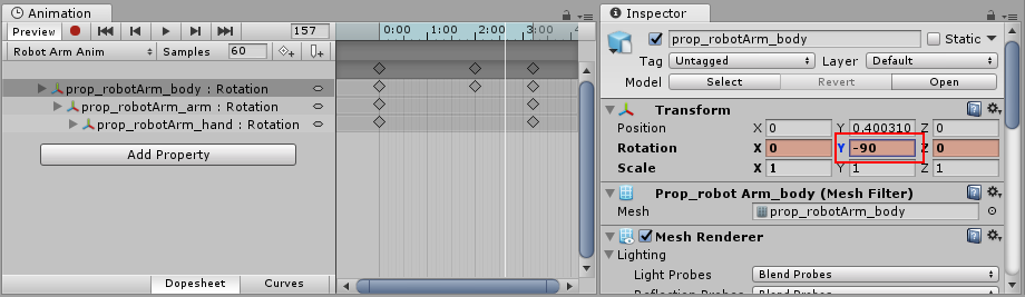 A modified animated property in preview mode. This change has not yet been saved as a keyframe